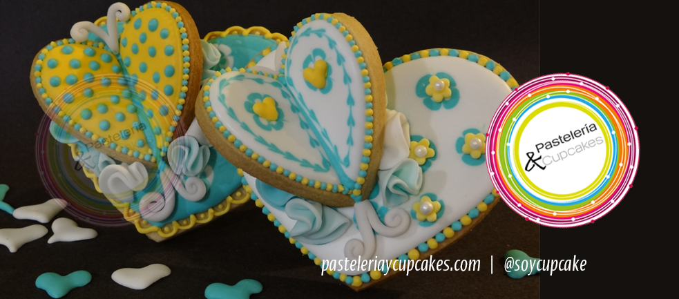 Galletas de mariposas en corazon