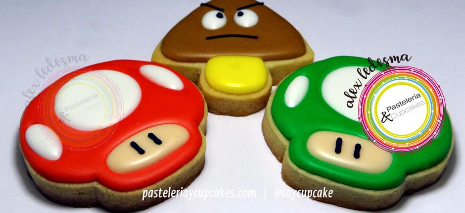 Galletas Hongo verde y rojo Mario Bros